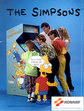 A flyer advertising The Simpsons arcade game.
